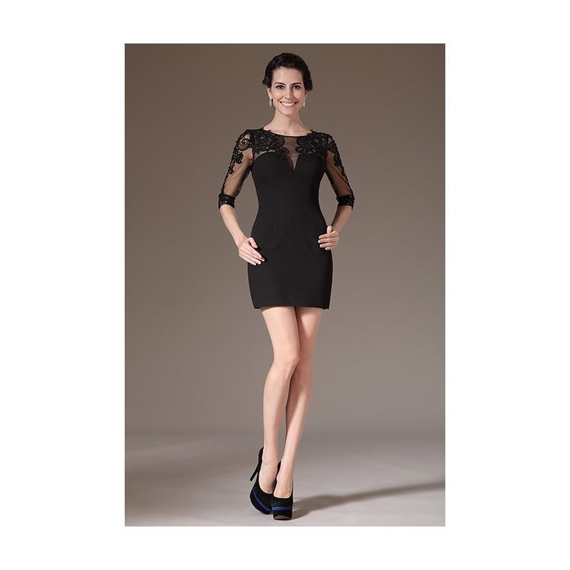 ... Stylové velmi přitažlivé malé krajkové zdobené výšivkou černé šaty s  dlouhým rukávem ... aa1a224b61