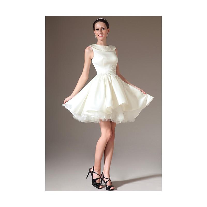 fffab4a86eb Svatební krátké elegantní velmi slušivé bílé šaty s klopou zdobeny v pase  krásnou květinovou krajkovou výšivkou ...