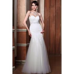 Okouzlující nádherné bílé šaty poseté kamínky ve stylu střihu mořské panny s páskem
