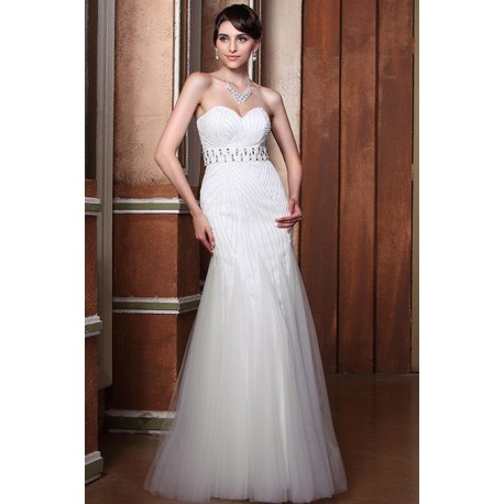 Okouzlující nádherné bílé šaty poseté kamínky ve stylu mořské panny s páskem 8b68aa7a9b