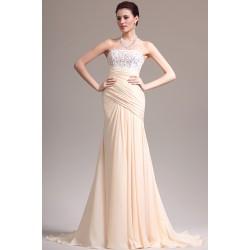 Večerní překrásné světlé šaty s topem plně pokrytým krajkovou aplikací, bez ramínek