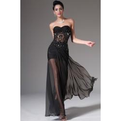 Večerní přitažlivé a svůdné černé večerní šaty bez ramínek s průsvitným topem zdobeným krajkou, kamínky a flitry