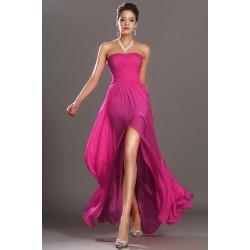 Úchvatné elegantní sytě růžové společenské řasené šaty bez ramínek, velmi slušivé