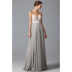 Překrásné přitažlivé společenské šedé šaty s průsvitným krajkou zdobeným živůtkem