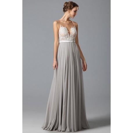 Překrásné sexy společenské šedé šaty s průsvitným krajkou zdobeným živůtkem e7a13bb783