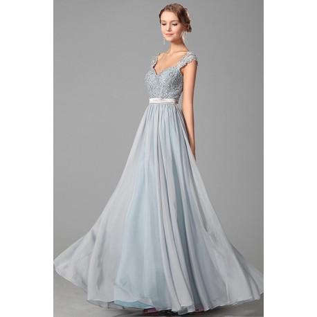 Nové luxusní šedomodré společenské šaty s topem zdobeným kamínky a saténovým pásečkem