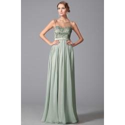 Nové noblesní světlounce zelené společenské šaty s průsvitným dekoltem a topem  zdobeným kamínky 98854d959f