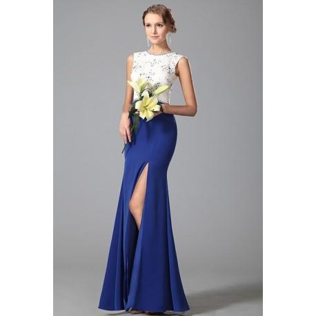Nové půvabné společenské šaty modro bílé s vysokým rozparkem a topem  zdobeným kamínky e985e9d653