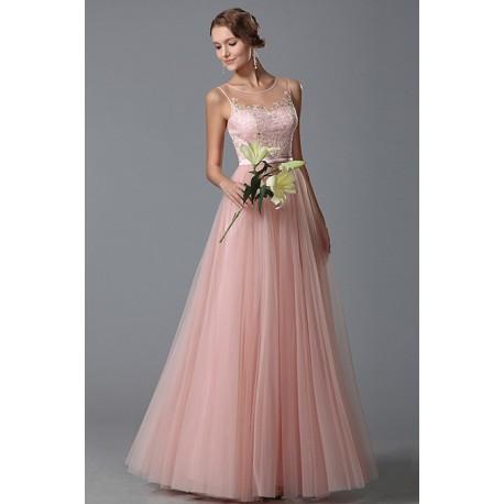 a4d5b00f6559 Nové nesmírně krásné společenské světle růžové šatičky z tylu s průsvitným  dekoltem a topem zdobeným krajkovou