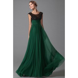 Nové přitažlivé krásné tmavě zelené společenské šaty s černým krajkovým topem, kloboučkovými rukávky a antickým pasem