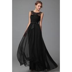 Nové půvabné společenské černé šaty bez rukávku s průsvitným krásně zdobeným lodičkovým dekoltem