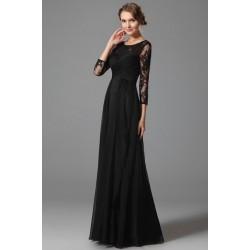 Nové šarmantní společenské večerní černé šaty s dlouhým krajkovým rukávem a rafinovaným slzičkovým výstřihem na zádech