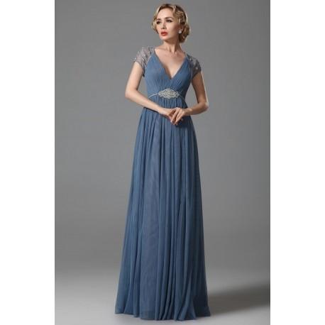 Nové přitažlivé modré tylové společenské šaty s průsvitnými ručně zdobenými  sexy zády a rukávky 516d209bb5