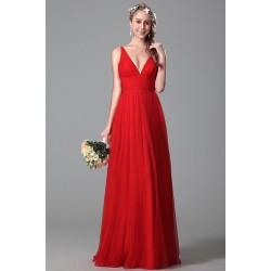 Nové půvabné jednoduché společenské tylové červené šaty na úzká ramínka