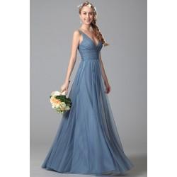 Nové půvabné jednoduché společenské tylové modré šaty na úzká ramínka