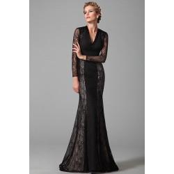 Nové společenské nádherné černé krajkové šaty s dlouhým rukávem a véčkovým výstřihem