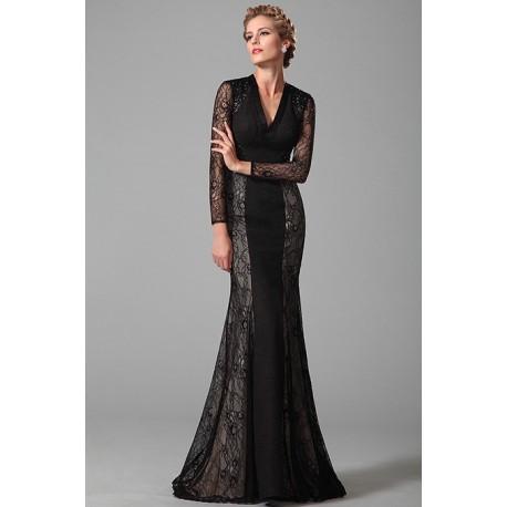 9622b61472c9 Nové společenské nádherné černé krajkové šaty s dlouhým rukávem a véčkovým  výstřihem