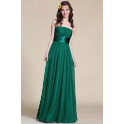 Nové elegantní a jednoduché společenské zelené šaty bez ramínek s atnickým  páskem 6e100f24d81