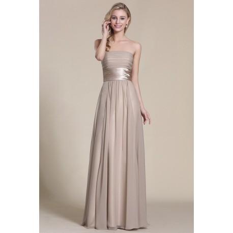 Nové elegantní a jednoduché společenské světle béžové šaty bez ramínek s atnickým  páskem 75cdc62c2a