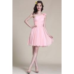 Nové rozkošné a velmi dívčí světle růžové šatičky na jedno rameno s ručně šitou květinou