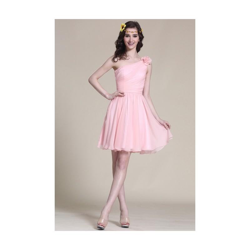 c71293b1b4c2 Nové rozkošné a velmi dívčí světle růžové šatičky na jedno rameno s ručně  šitou květinou