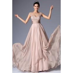 Společenské nádherně jemné starorůžové šaty s průsvitným topem ručně zdobeným velmi krásnými top kvalitními kamínky