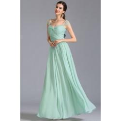 Půvabné společenské šaty v barvě mint s klouboučkovými zdobenými rukávky cd2c996057