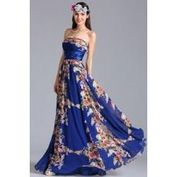 Nové naprosto okouzlující letní potištěné společenské modré šaty bez ramínek