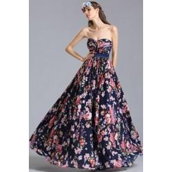Překrásné letní společenské tmavě modré šaty s květinovým potiskem