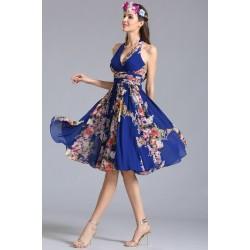 Nové krásné potištené krátké šaty s hlubším výstřihem a holými sexy zády
