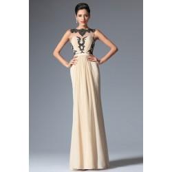 Nové elegantní společenské šaty v barvě šapmáň bez rukávů s výraznou černou krajkovou aplikací a průsvitným dekoltem
