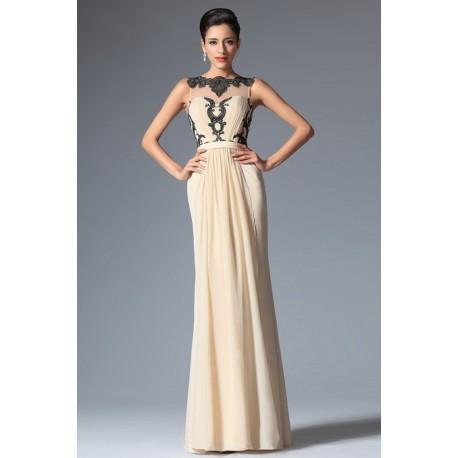 Nové elegantní společenské šaty v barvě šapmáň bez rukávů s výraznou černou  krajkovou aplikací a průsvitným 9ee7744383