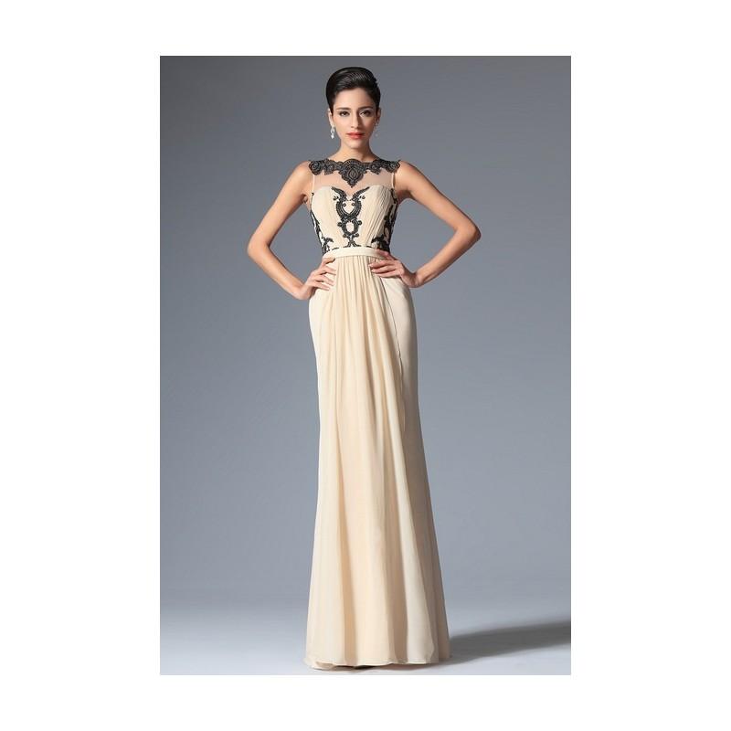 Nové elegantní společenské šaty v barvě šapmáň bez rukávů s výraznou černou  krajkovou aplikací a průsvitným ... 85dd980923