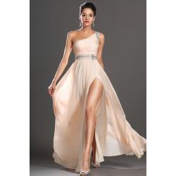 Nové elegantní antické a jednoduché společenské světlé šaty na jedno rameno zdobené v pase a na rameni kamínky
