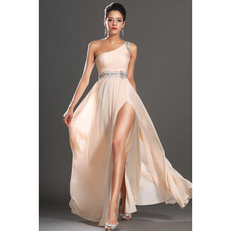 Nové elegantní antické a jednoduché společenské světlé šaty na jedno rameno  zdobené v pase a na 7a747fad7f