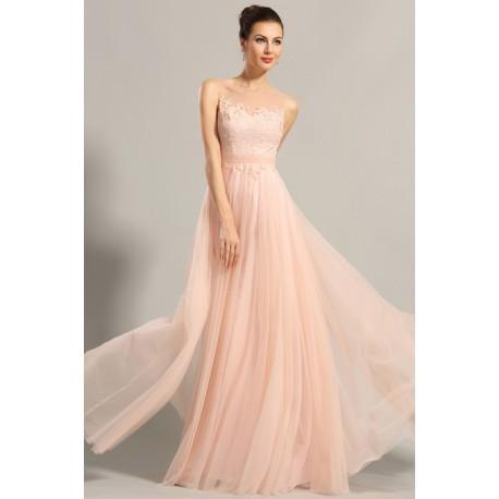 e160bfeabc07 Nové dechberoucí jemné světle lososové společenské šaty s krásně zdobeným  průsvitným topem