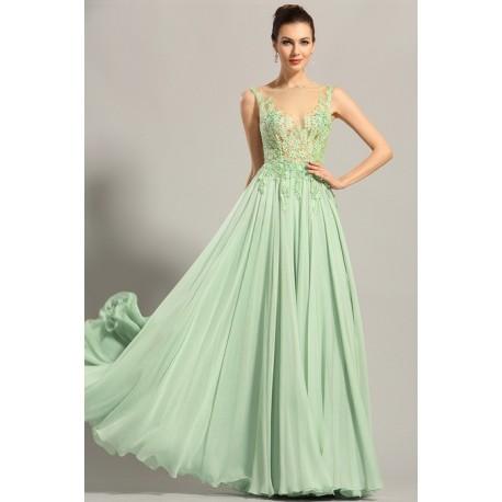 Nové úchvatně krásné světle zelenkavé společenské šaty s výšivkou zdobeným  průsvitným topem c5454f5316