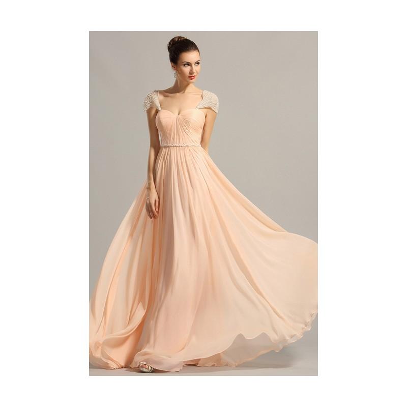89a31cc5578c Nové společenské romantické jemné světlounce broskvové šaty s luxusně  zdobenými volnými rukávky