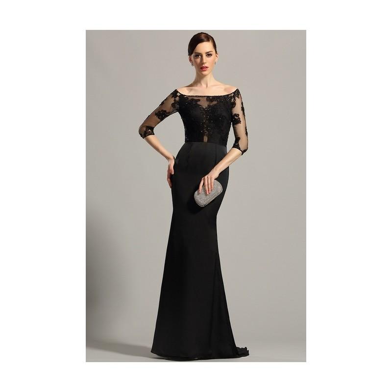 09679e18a26 ... Společenské velmi elegantní dlouhé černé šaty s krajkovým živůtkem  zdobeným jemnými kamínky a vlečkou ...