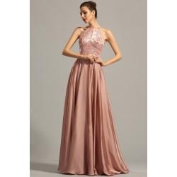 Večerní nádherné a ojedinělé hnědo-růžové šaty za krk s vyšívaným topem jemnou krásnou výšivkou zdobenou kamínky