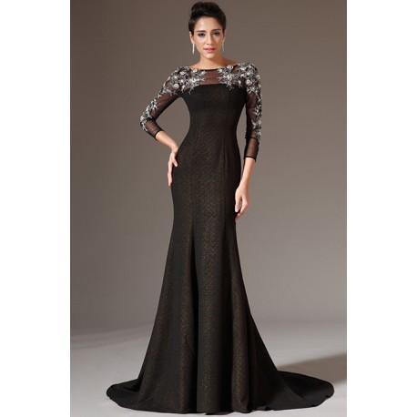 2a555246b44 Nové večerní černé luxusní šaty s průsvitným tylovým topem zdobeným krásnou  výšivkou