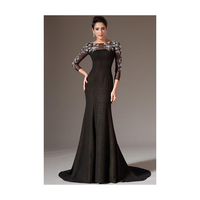 Nové večerní černé luxusní šaty s průsvitným tylovým topem zdobeným krásnou  výšivkou cd14dba0a51