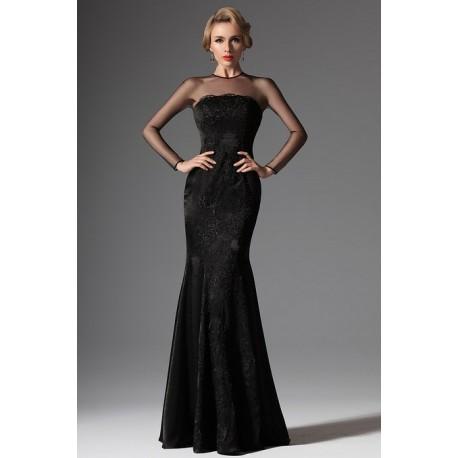Nové dlouhé černé velmi elegantní nádherné večerní šaty celo-krajkové ve  střihu mořské panny 43629befed