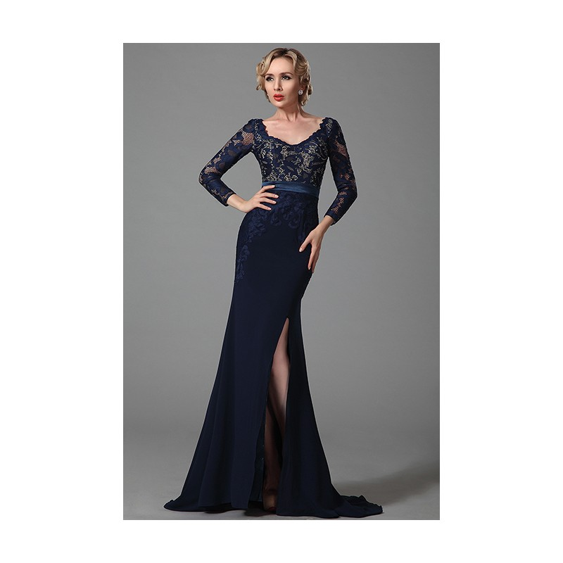 8d285d84beef Společenské noblesní tmavě modré úzké šaty s dlouhým krajkovým rukávem ...