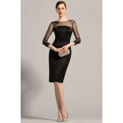 Společenské velice přitažlivé černé šatičky s průsvitnými krajkou zdobenými dlouhými rukávy