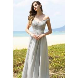 caab496f868f Světle šedé společenské překrásné šaty se zdobeným živůtkem a spadlými  ramínky