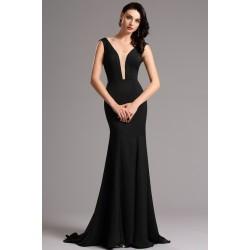 Společenské velice elegantní a minimalistické černé dlouhé šaty s průsvitným tylem v dekoltu