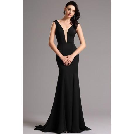 195e8713ed5c Společenské velice elegantní a minimalistické černé dlouhé šaty s  průsvitným tylem v dekoltu