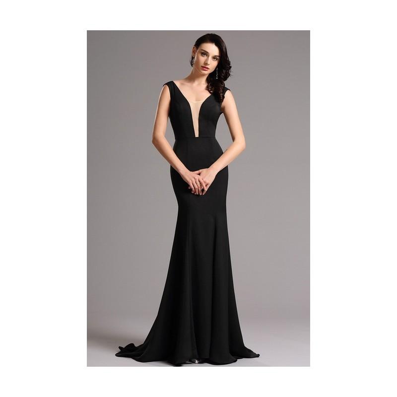 4e8474dd420c Společenské velice elegantní a minimalistické černé dlouhé šaty s  průsvitným tylem v dekoltu ...