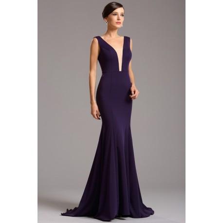 Společenské velice elegantní a minimalistické námořnicky modré dlouhé šaty  s průsvitným tylem v dekoltu cf8a6db33e4